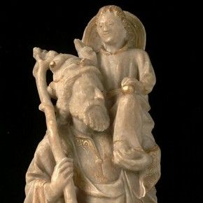 St Christopher Painted And Gilded Alabaster Carving By An