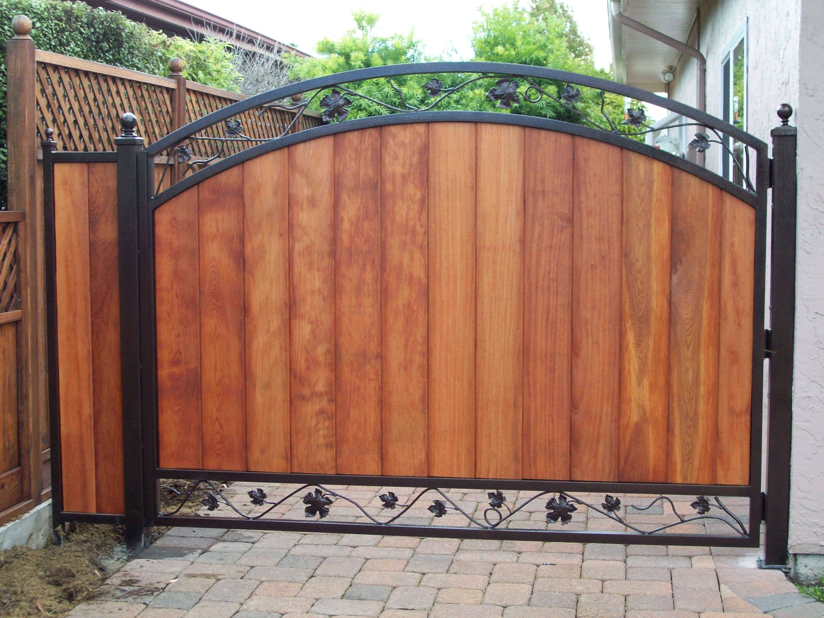 Wooden gates with black metal frame iron grape vine