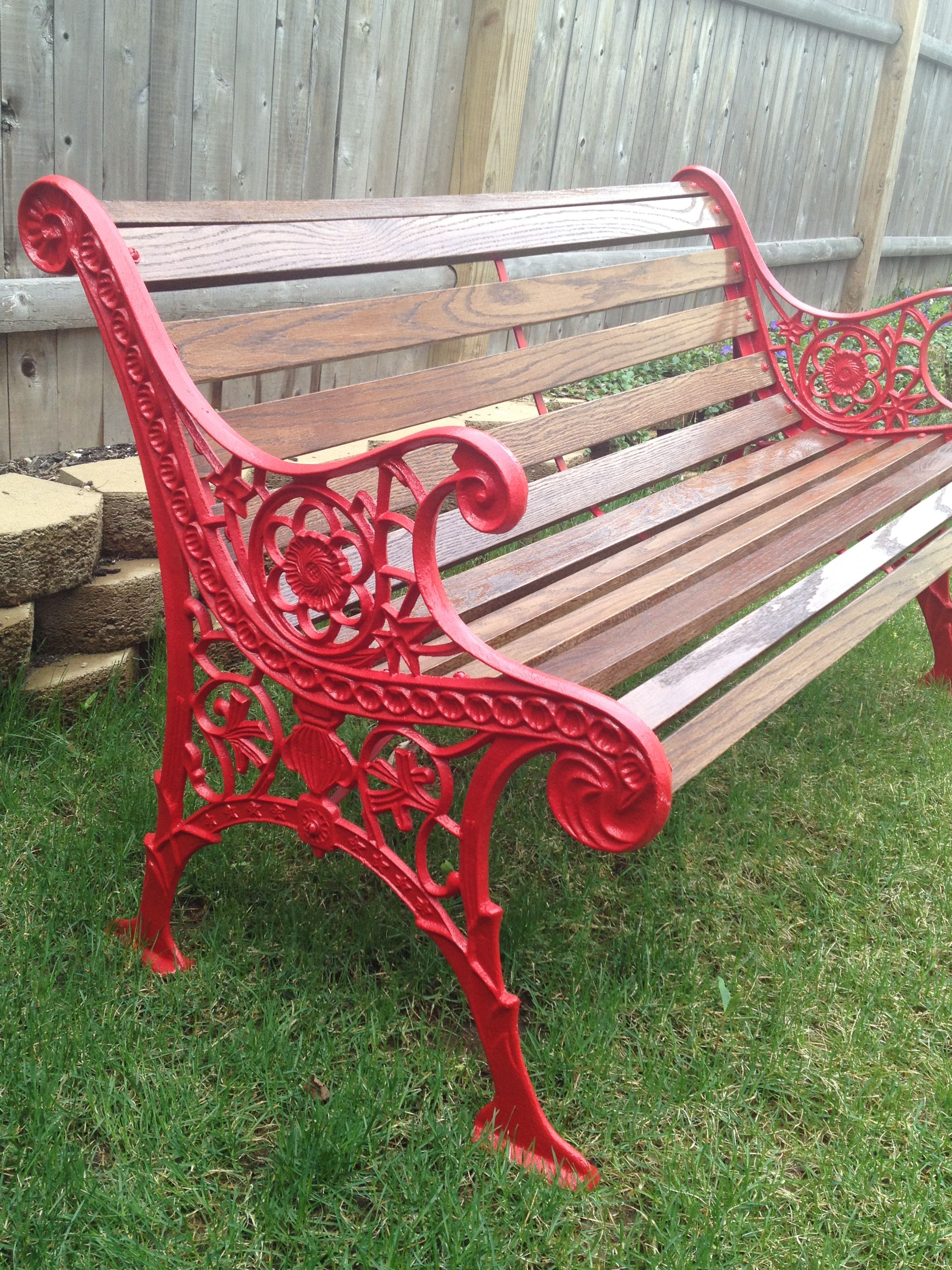 Vintage Cast Iron Bench Red Garden Furniture Outdoor Patio