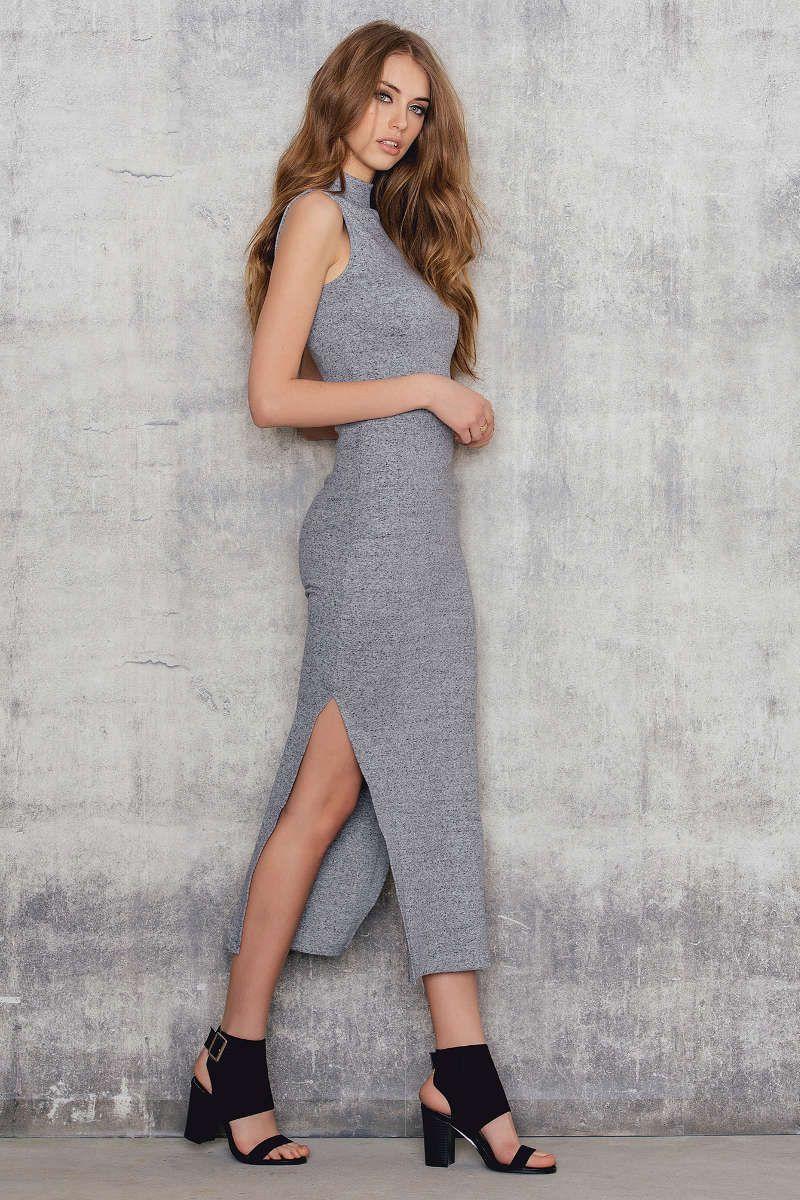 Rib high neck midi dress fashion pinterest midi dresses
