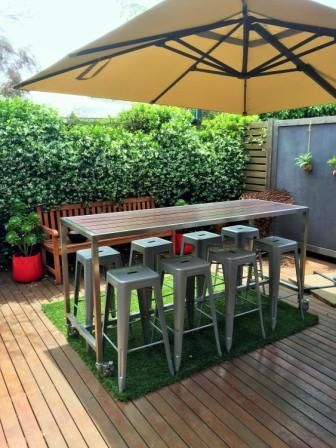 Custom Outdoor Bar Table With Foot Rail Lockable Castors And Jarrah