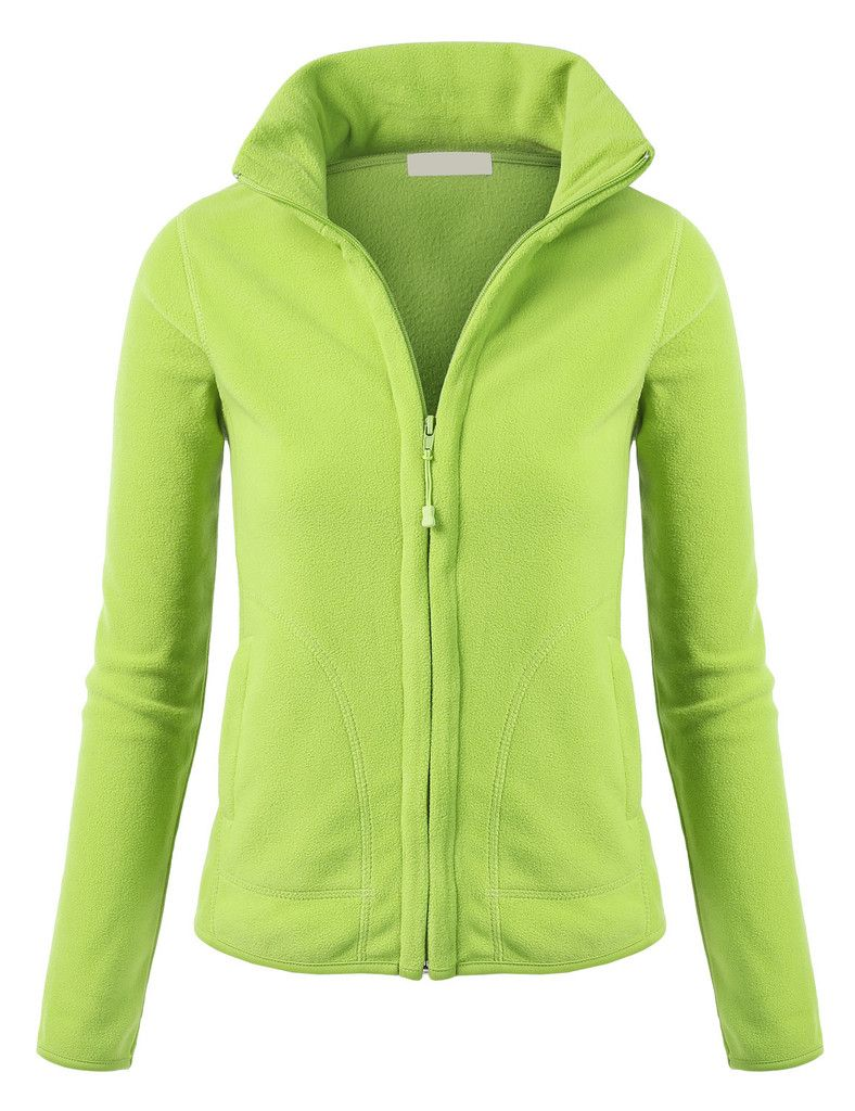 Leno womens lightweight active soft fitted zip up fleece jacket