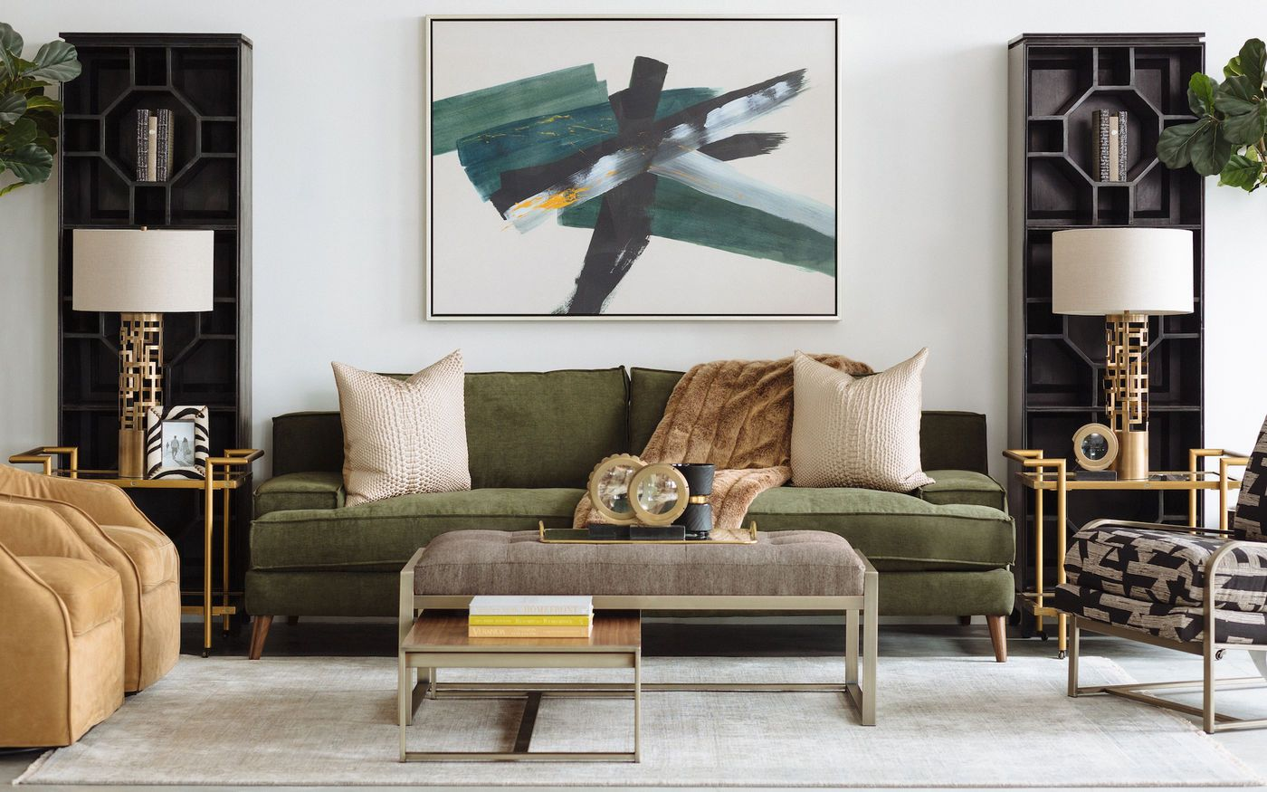 Modern Low Profile Plush Sofa In Forest Green Mathis Brothers Furniture Green Couch Living Room Green Sofa Decor Green Sofa Living Room #plush #living #room #furniture