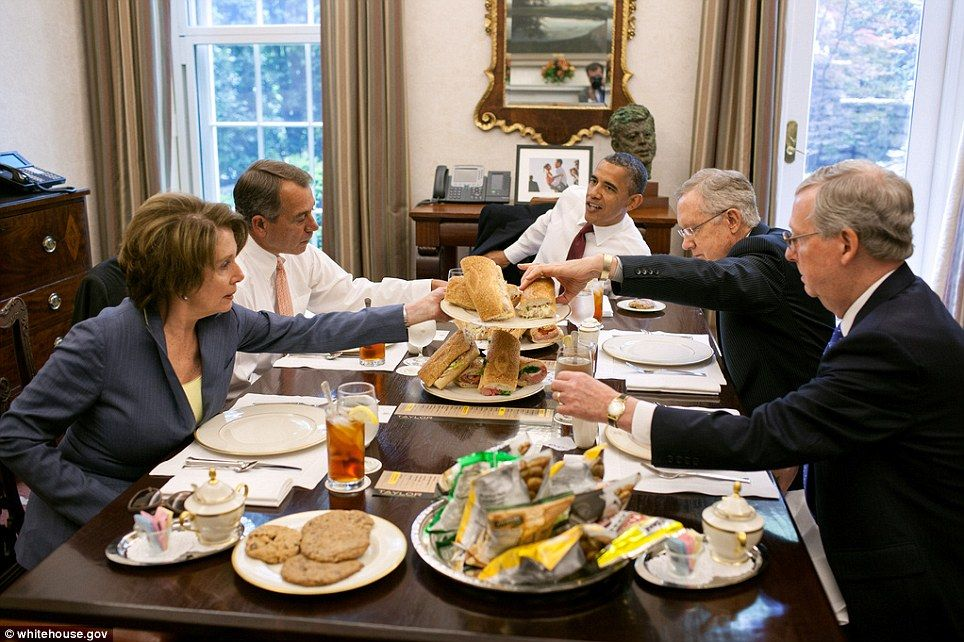 senate dining room. President Barack Obama has lunch with members of the Congressional  Leadership in Oval Office Private Dining Room May The served hoagies from