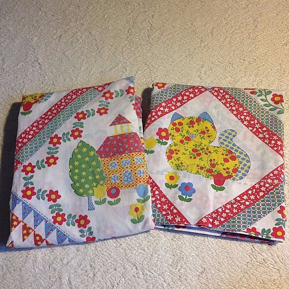 details about vtg sears twin bed sheet set cat kids red country  - details about vtg sears twin bed sheet set cat kids red country kitsch funretro bedding