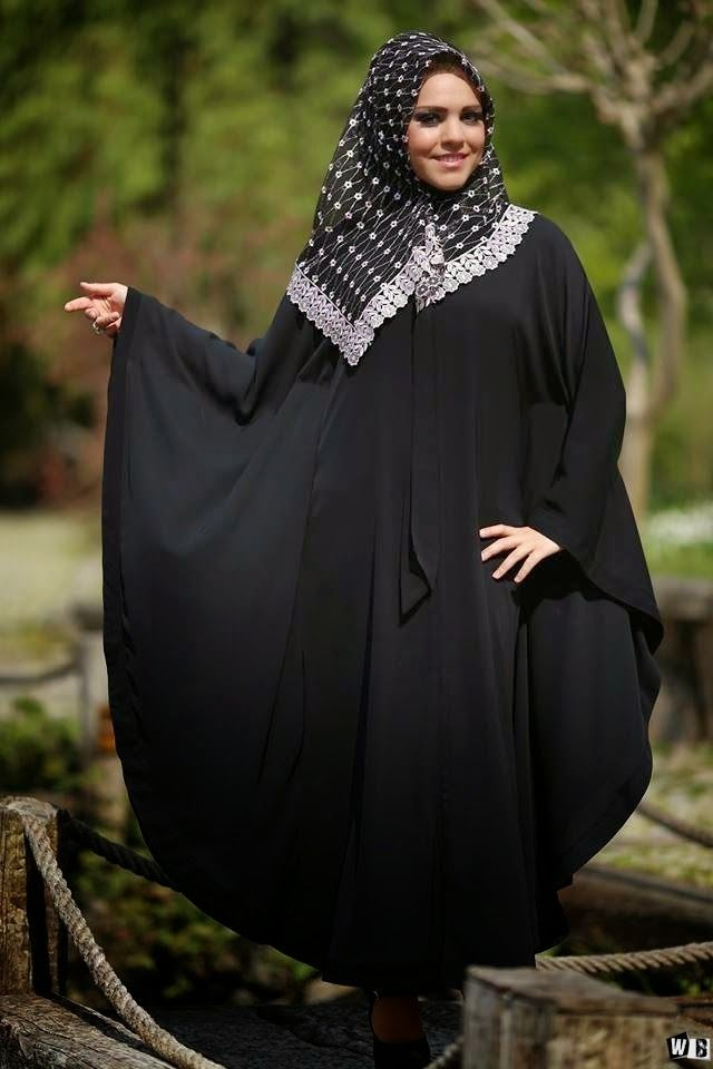 عبايات دبي 2015 صور عبايات 2015 خليجية سوداء اجمل عبايات خليجيه Butterfly Abaya Fashion Nun Dress