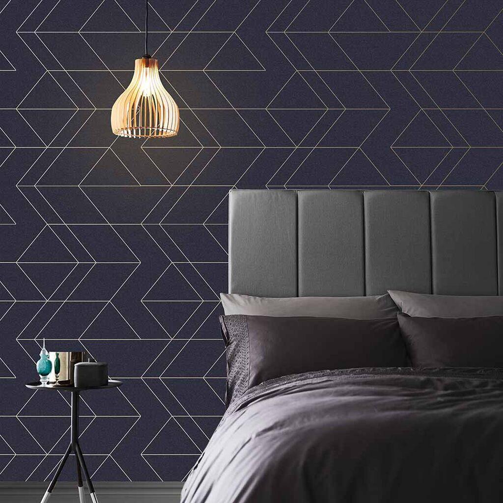 Clifton Wave Geometric Wallpaper Navy / Gold WOW41964