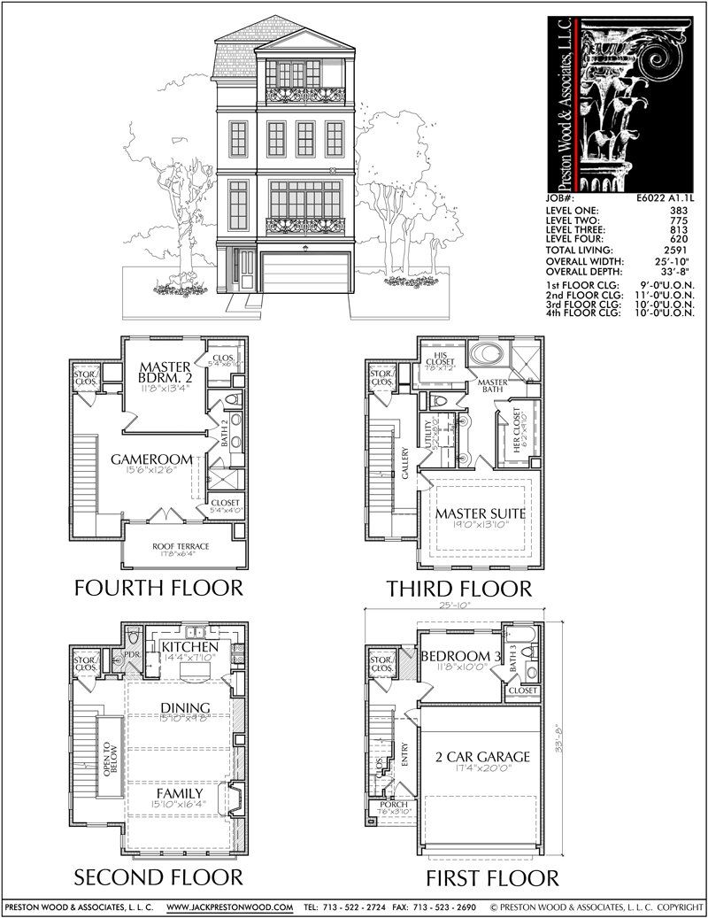 Four Story Townhouse Plan E6022 Town House Floor Plan Brownstone Homes House Floor Plans