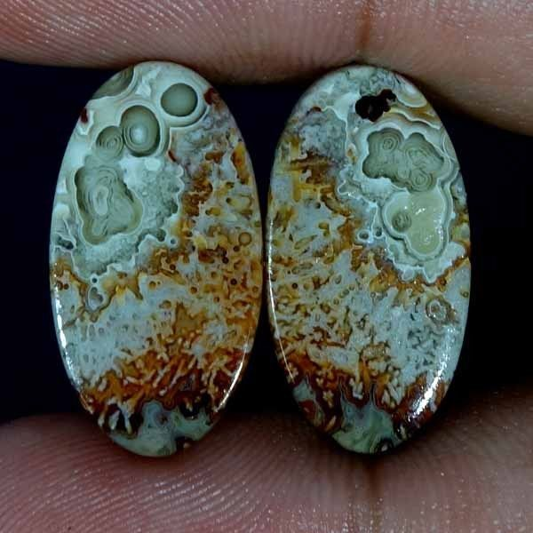 16.10Cts 100% NATURAL CRAZY LACE AGATE DESIGNER GEMSTONE OVAL CABOCHON PAIR #Handmade
