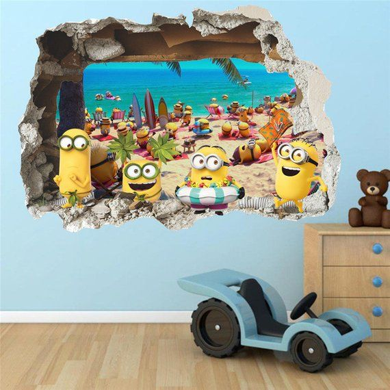 wall sticker decal 3d view minions wall decor yellow for kids