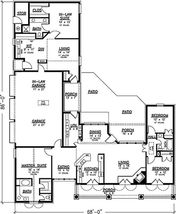 House With 3 Car Garage And Full In Law Apartment: Multi Generation Floor  Plan