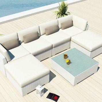 Amazon Com Uduka Outdoor Sectional Patio Furniture White 400 x 300