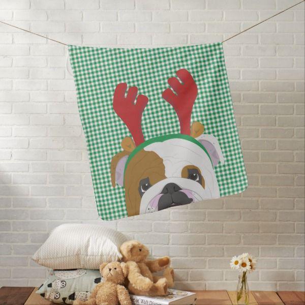 a3ee0c737af English Bulldog Rudolph Reindeer Receiving Blanket  christmas  kids   clothing  baby