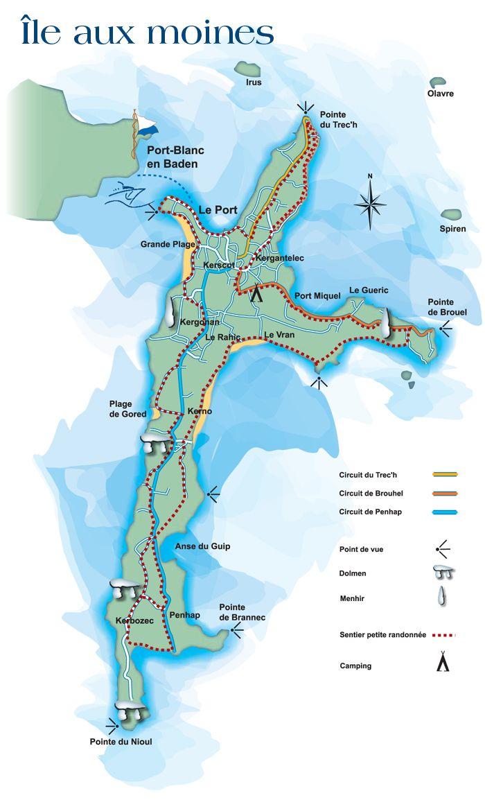 Carte Ile Aux Moines Golfe Du Morbihan 56 France Ile Aux