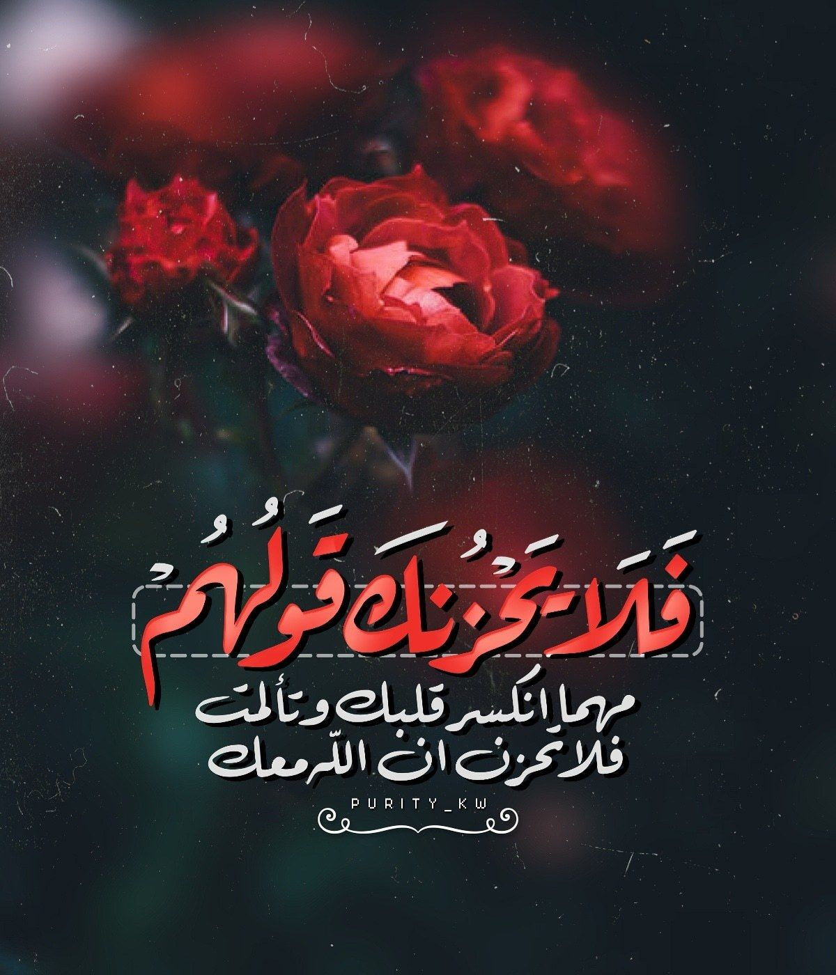 ف ل ا ي ح ز نك ق و ل ه م مهما انكسر قلبك وتألمت فلا تحزن ان الله معك Quran Quotes Love Funny Arabic Quotes Beautiful Arabic Words