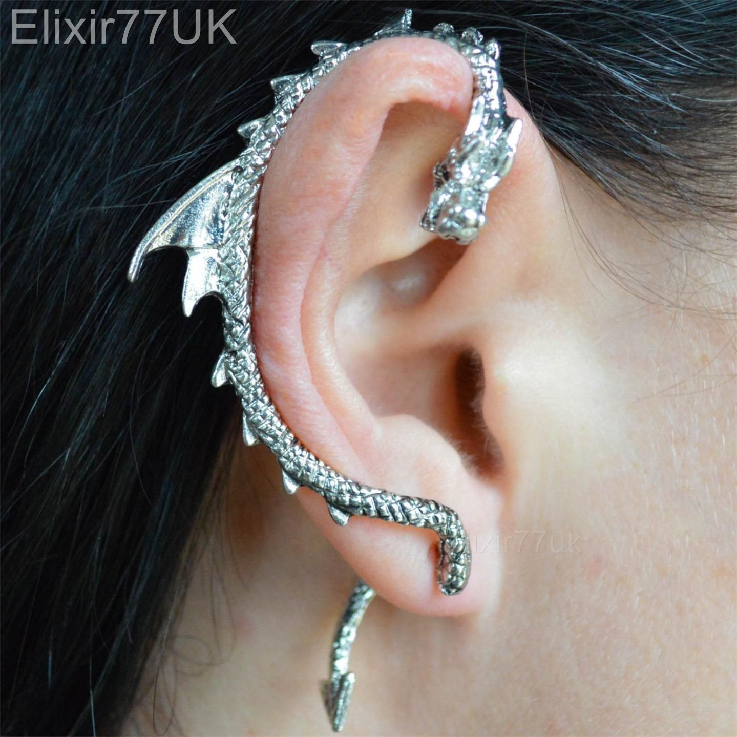 Details About New Silver Dragon Snake Ear Cuff Clip Wrap