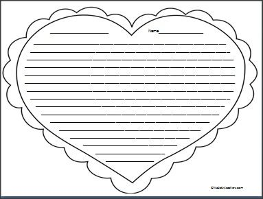 This Is Heart Writing Paper With College Ruled Lines Available FREE On Madebyteachers Perfect For Valentines Day Wriiting