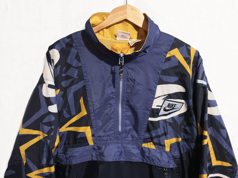 Ultra Rare Nike 90s Windbreaker Half Zip Pullover Jacket Multicolor Black Navy Orange And White Siz Half Zip Pullover 90s Windbreaker 90s Nike Windbreaker