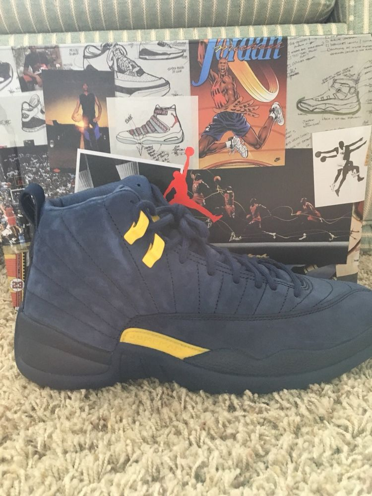 sale retailer 0cafc 14805 nike air jordan 12 retro michigan size 9.5  fashion  clothing  shoes   accessories  mensshoes  athleticshoes (ebay link)