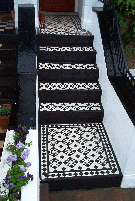 Black And White Steps Porch Tile Tile Steps Tiled Hallway