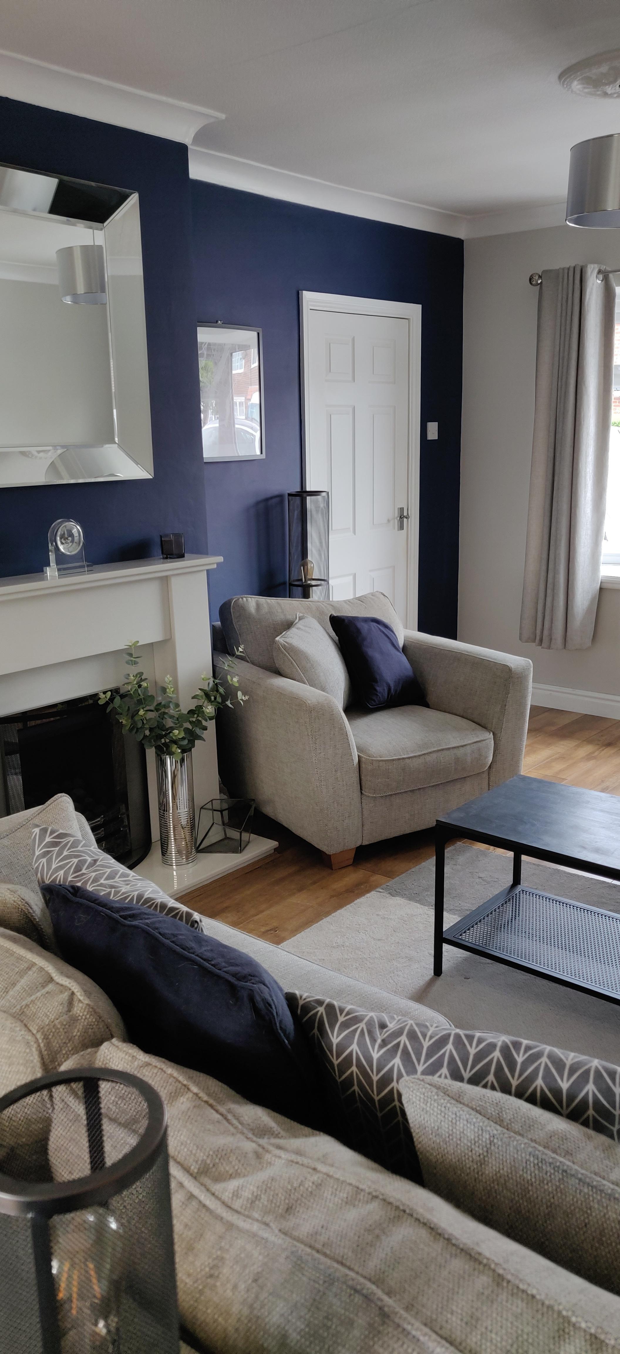Sapphire Salute Preston Uk Amateurroomporn In 2020 Blue Living Room Decor Blue Living Room Color Navy Living Room Decor