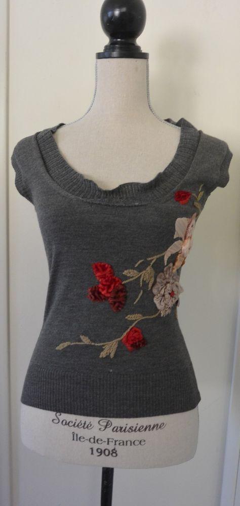 cd51cd114272 Dolce Gabbana 100% wool mohair velvet flowers sweater vest top shirt size  XS  DolceGabbana  sweatervest  Casual