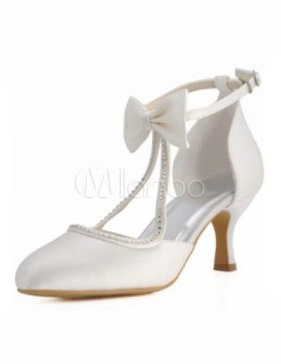 d6a319693d3ee Ivory Wedding Shoes Satin Round Toe Rhinestones Bow Vintage Bridal ...