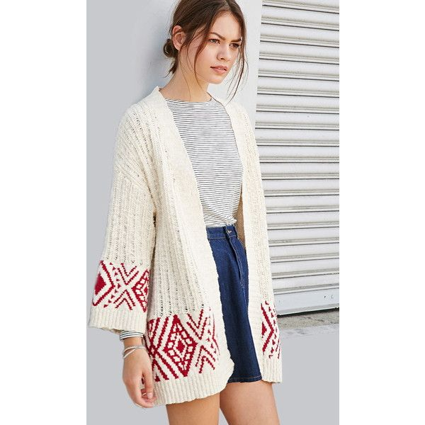 Forever 21 Geo-Patterned Longline Cardigan ($33) ❤ liked on ...