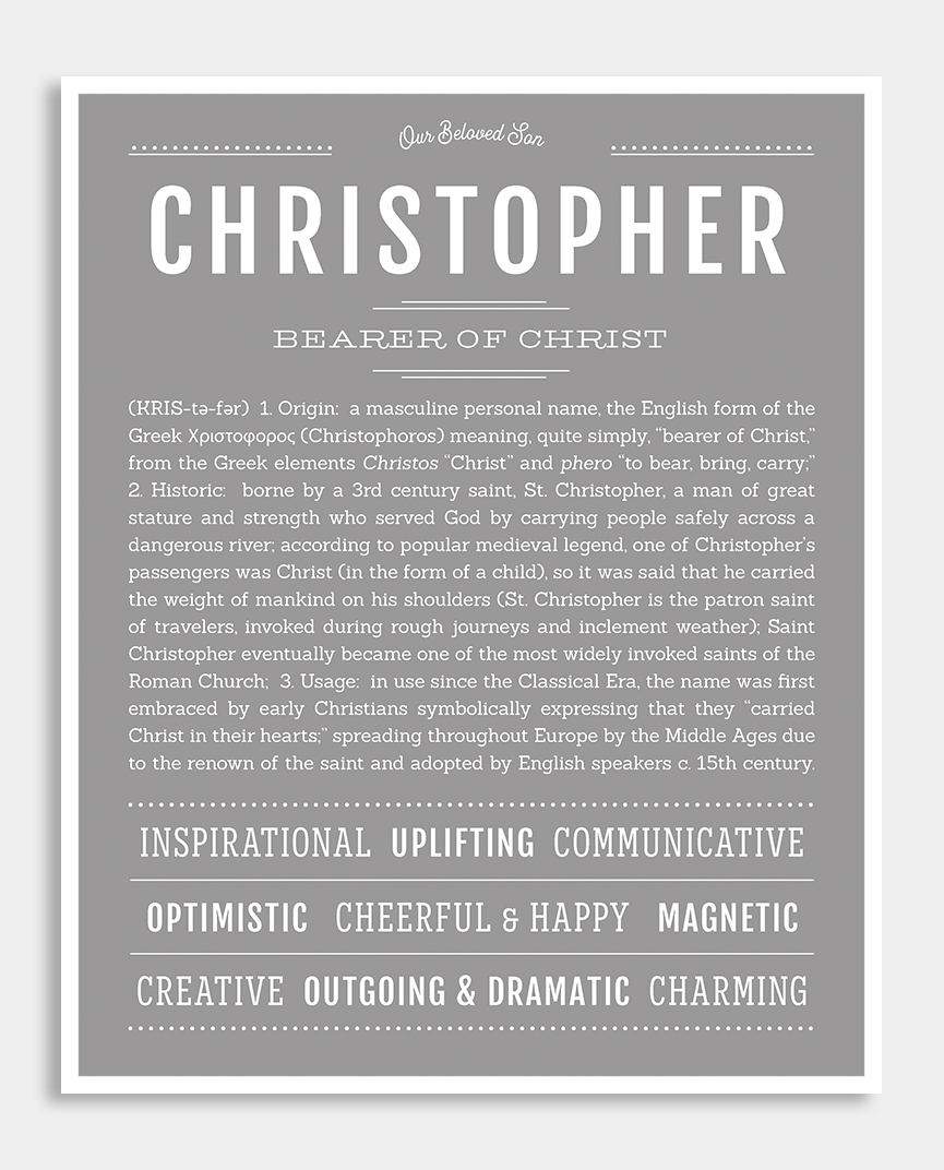 Christopher Name Art Print Names Personalized Art Print Names With Meaning