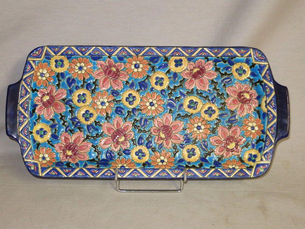 Details Sur Emaux De Longwy Ancien Plat A Cake Gateaux Fleurs Art