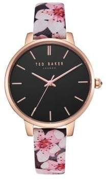 11ced9457 Ted Baker Kate Floral Leather-Strap Watch