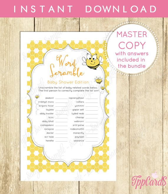 Baby Shower Word Scramble Game Printable Digital Instant Download - invitations in word