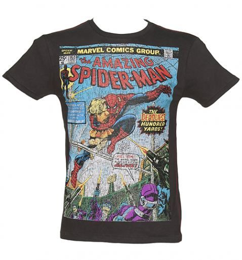 eaa38ac3 Men's Washed Black #Comic Cover Print Amazing #Spiderman T-Shirt from  Fabric Flavours xoxo