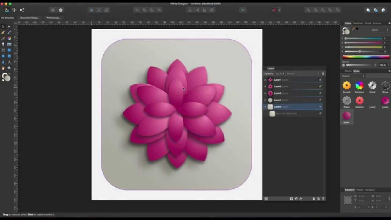 Affinity Designer Tutorial 10 3d Lotus Flower Lights And