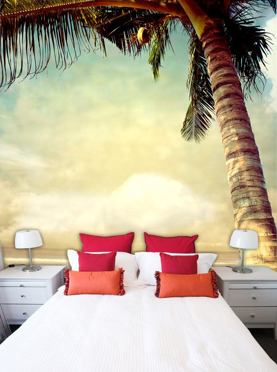 Wall mural Mural of vintage palm background by StyleAwall on Etsy ...