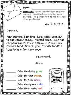 Friendly Letter Example Google Search Writing Pinterest