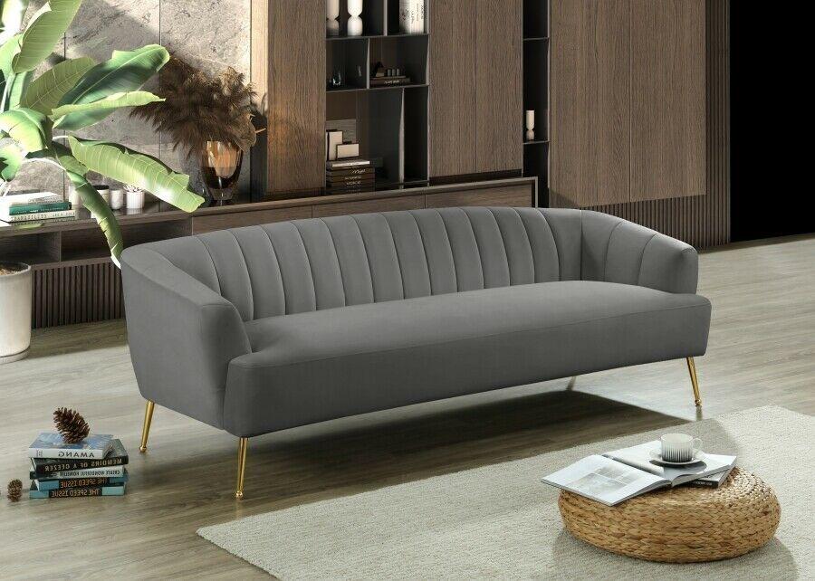 2pc Sofa Set Gold Legs W Ball Design Deep Channel Tufting Grey Velvet Furniture Sofa Set Ideas O In 2020 Living Room Furniture Furniture Sofa Set Contemporary Sofa