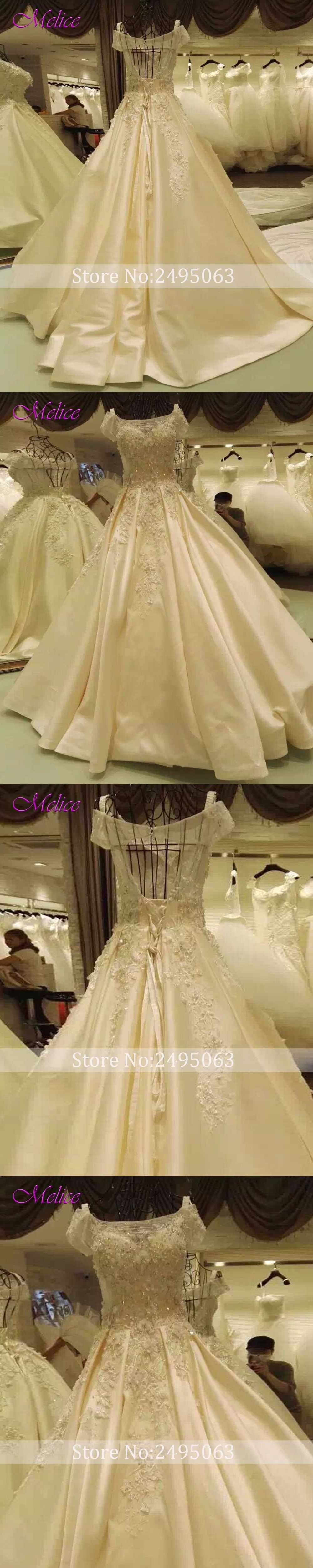 Melice luxury appliques short sleeve flowers aline wedding dress