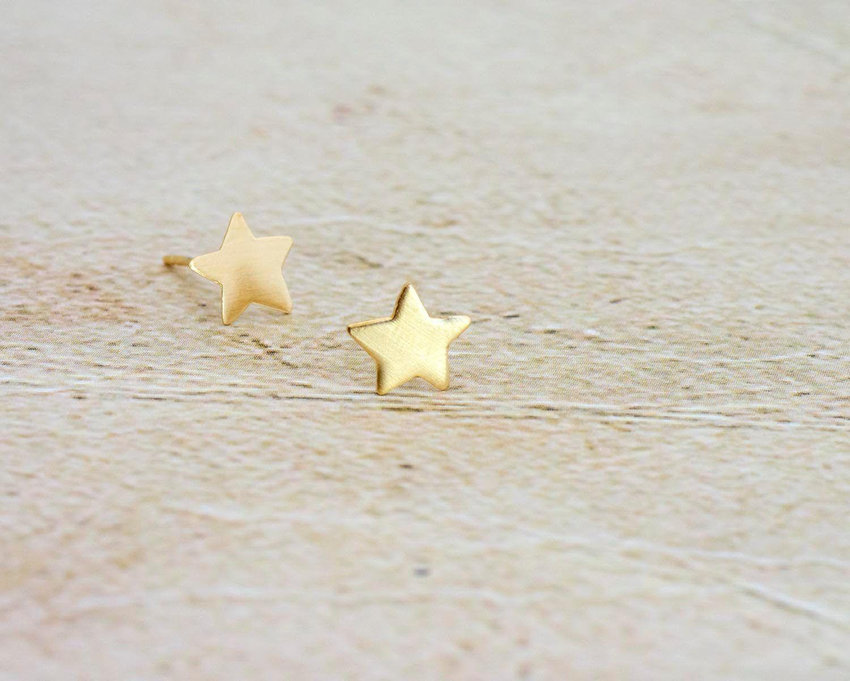 8f86f6365 Star Earrings, Tiny Stud Earrings, Gold Post Earrings, Gold Star Earrings,  Star Posts, Unique 14K / 9K Gold Earrings, Dainty Gold Studs