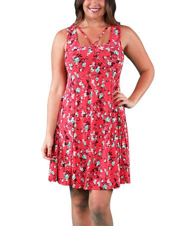 Pink & Blue Floral Criss-Cross Sleeveless Dress - Plus #zulily #zulilyfinds