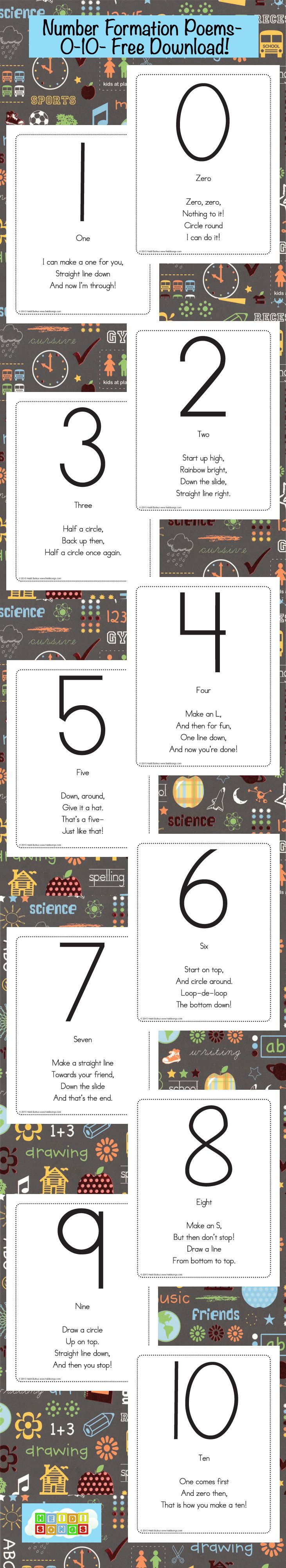 Number Writing Poems Freebie from HeidiSongs for teaching