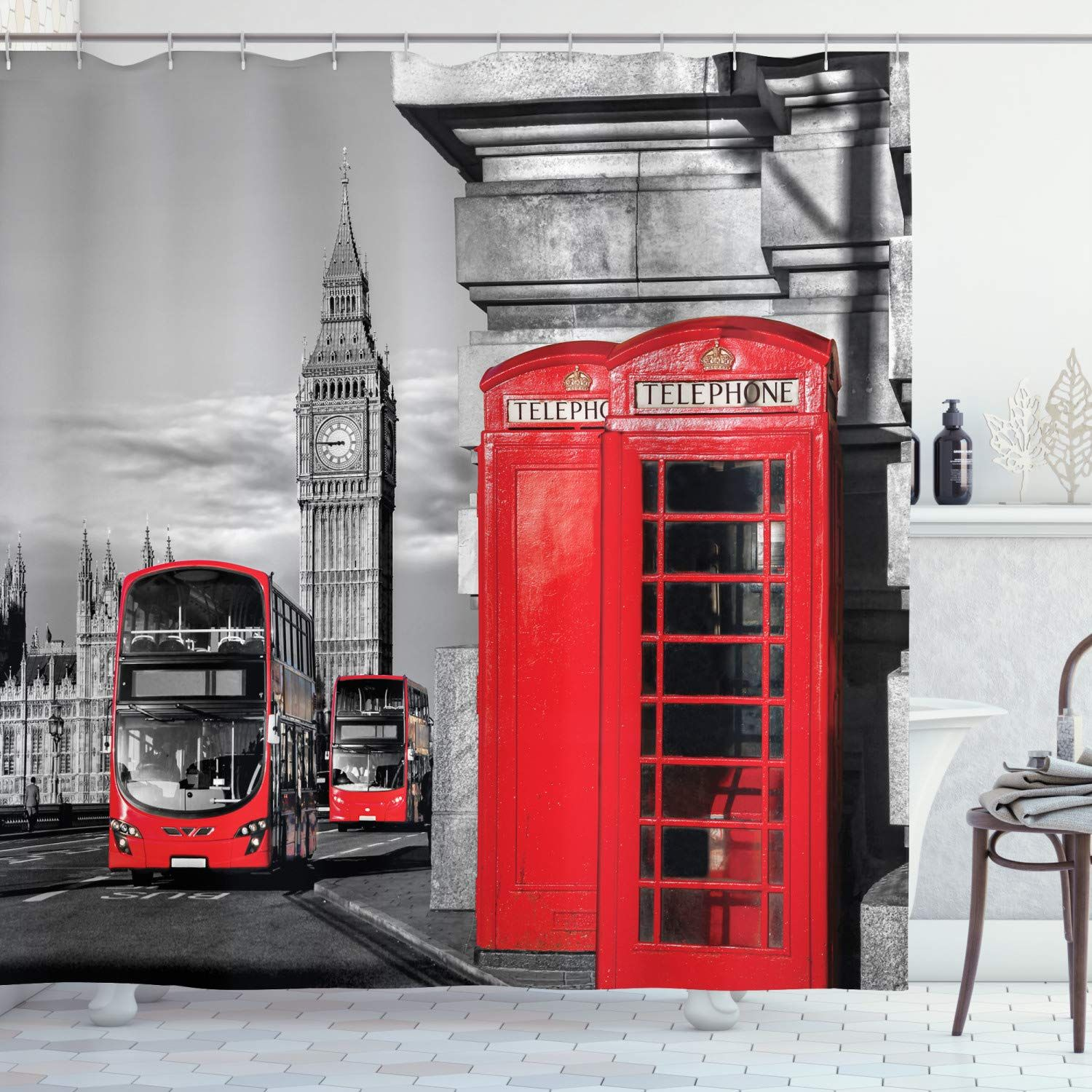 Ambesonne London Shower Curtain London Telephone Booth In The
