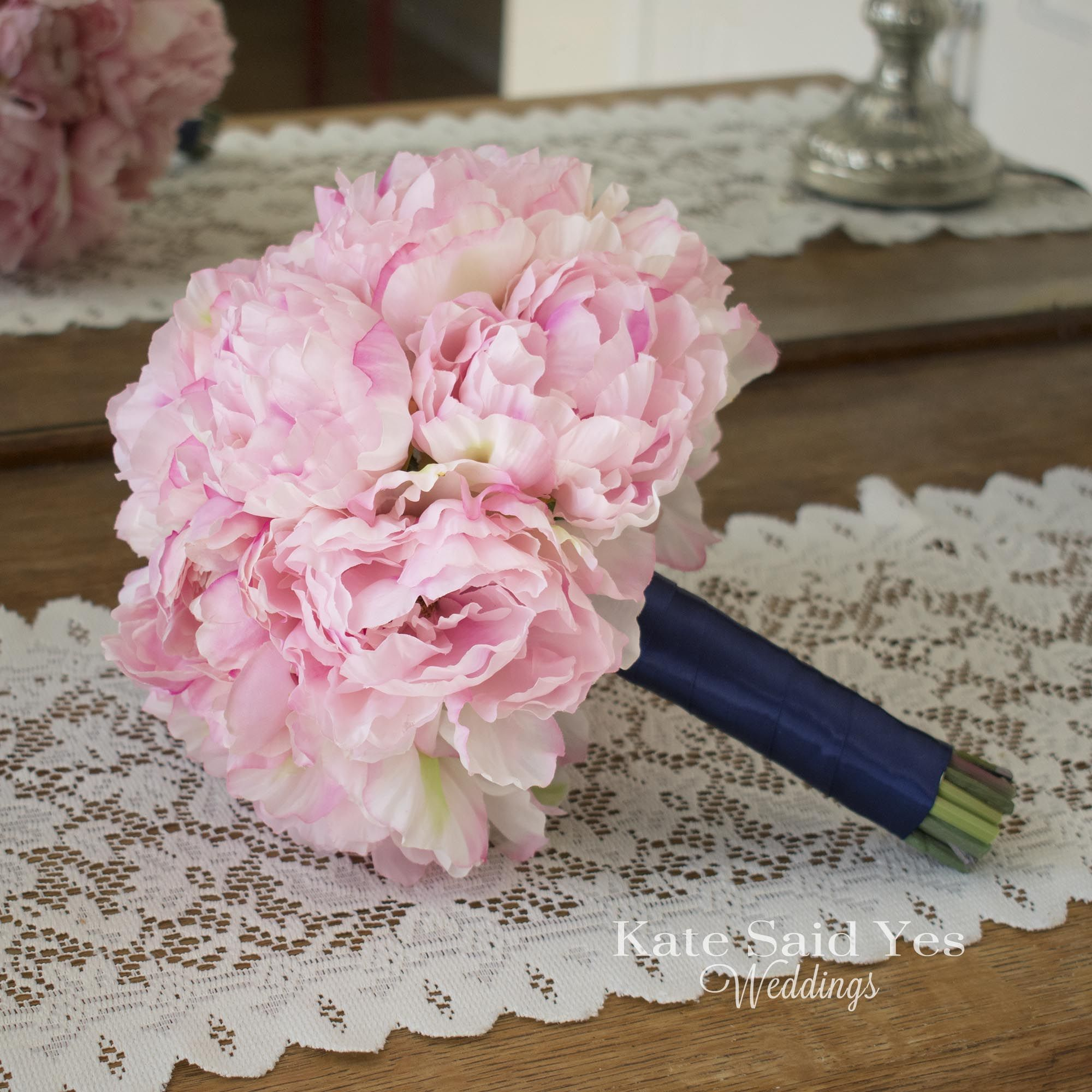 Pink peonies everywhere! Silk peony bouquet by Kate Said Yes ...