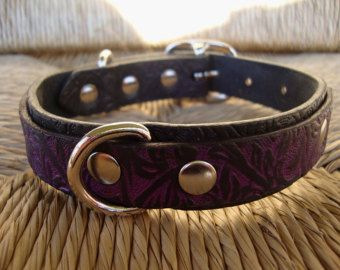 1 Wide Double Leather Dog Collar Purple And Black Embossed