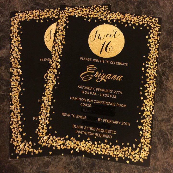 Printed Sweet Sixteen Invitation, Sparkle Invitation, 16th ...