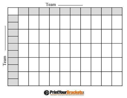 Nfl Print 50 Square Football Grid Superbowl Squares Football Squares Template Football Squares