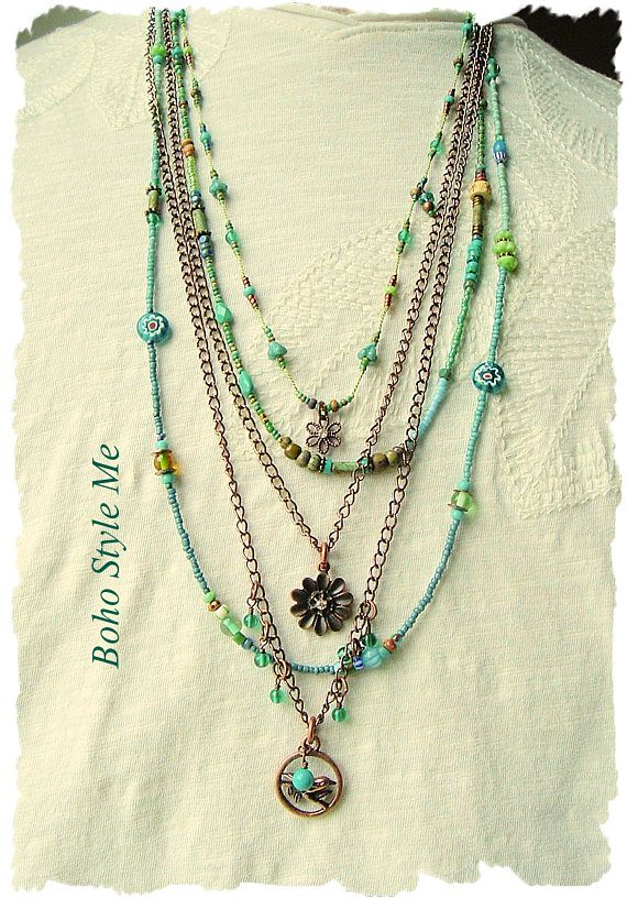 MULTI LAYERS MULTI TURQUOISE SEED BEAD 60 STRING NECKLACE SET