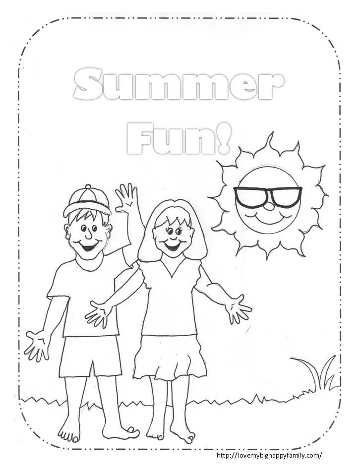 Summer Fun Coloring Page | AAA - Love My Big Happy Family ...