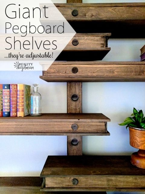 Oversized GIANT Pegboard Shelves that are Adjustable! Shelves and