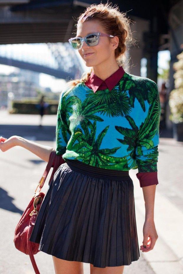Tanja G, model and blogger  Wearing: Versace for H jumper, Lover shirt, Zara skirt and Chloe bag